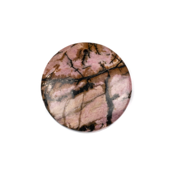 Rhodonite 40mm Top Front to Back Drilled Coin Pendant with a Flat Back - 1 per bag