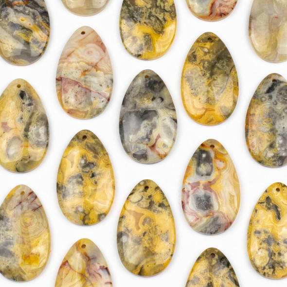 Crazy Lace Agate 30x50mm Top Front to Back Drilled Teardrop Pendant with a Flat Back - 1 per bag