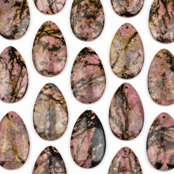 Rhodonite 30x50mm Top Front to Back Drilled Teardrop Pendant with a Flat Back - 1 per bag
