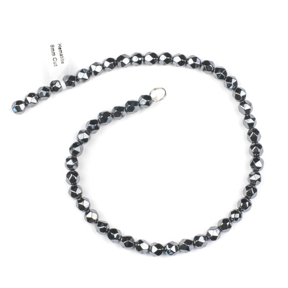 Hematite 8mm Simple Faceted Star Cut Beads - 15.5 inch strand