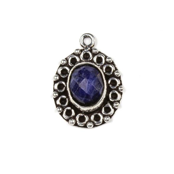 Silver Plated Brass Fancy Bezel Pendant - Faceted Sapphire 16x22mm Oval Drop, style #03