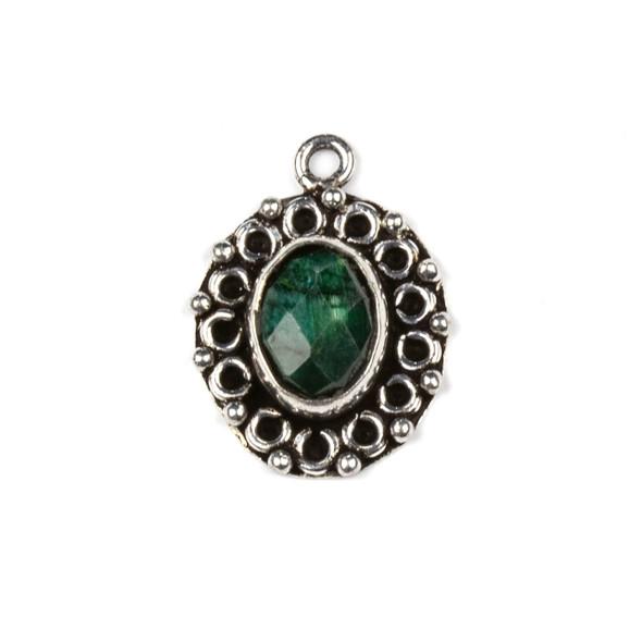 Silver Plated Brass Fancy Bezel Pendant - Faceted Emerald 16x22mm Oval Drop, style #03