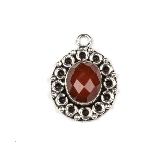 Silver Plated Brass Fancy Bezel Pendant - Faceted Carnelian 16x22mm Oval Drop, style #03