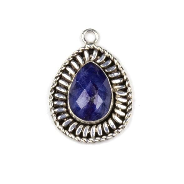 Silver Plated Brass Fancy Bezel Pendant - Faceted Sapphire 17x25mm Teardrop Drop, style #06