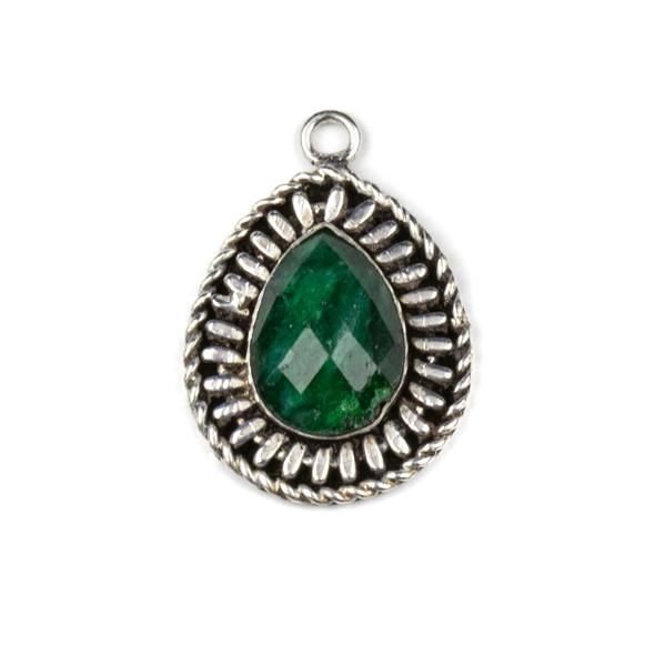 Silver Plated Brass Fancy Bezel Pendant - Faceted Emerald 17x25mm Teardrop Drop, style #06