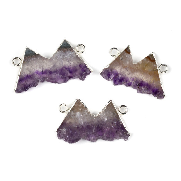 Amethyst 26x39-32x44mm Mountain Landscape Pendant with Silver Foil and Loops - 1 per bag