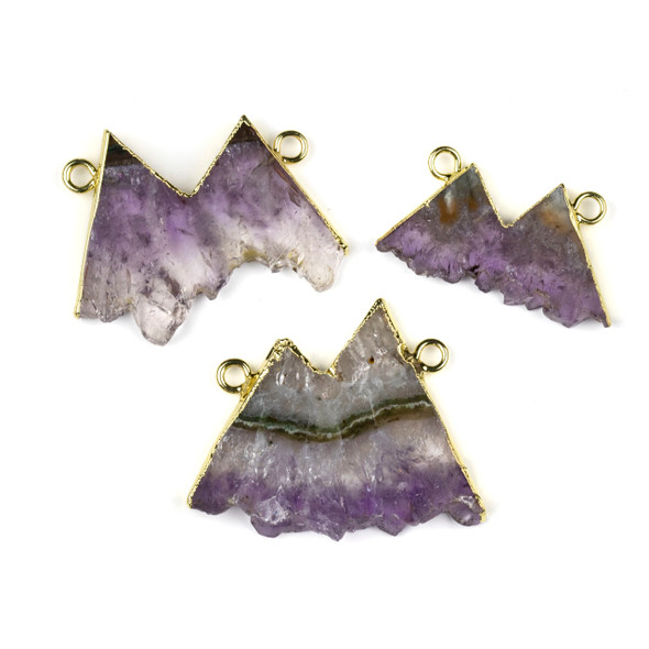 Amethyst 26x39-32x44mm Mountain Landscape Pendant with Gold Foil and Loops - 1 per bag