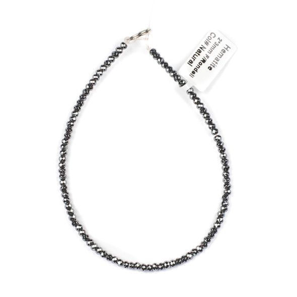 Hematite 2x3mm Faceted Rondelle Beads - approx. 8 inch strand