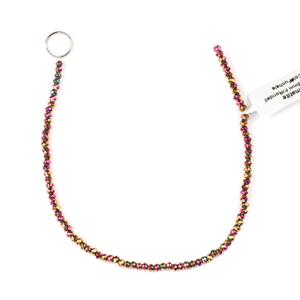 Hematite 2x3mm Electroplated Fuchsia Rainbow Faceted Rondelle Beads - approx. 8 inch strand