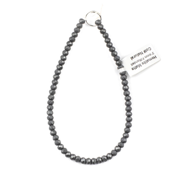 Hematite 3x4mm Matte Faceted Rondelle Beads - approx. 8 inch strand