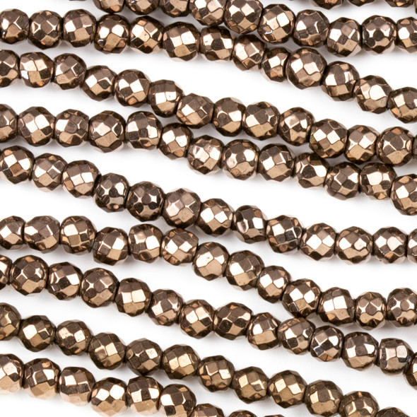 Hematite 4mm Electroplated Bronzite Faceted Round Beads - approx. 8 inch strand
