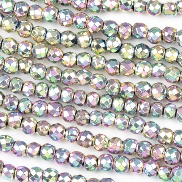 Hematite 4mm Electroplated Pink Rainbow Faceted Round Beads - approx. 8 inch strand