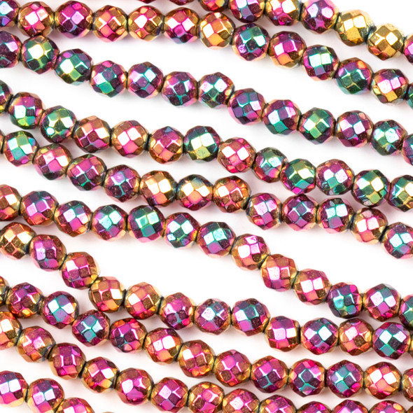 Hematite 4mm Electroplated Fuchsia Rainbow Faceted Round Beads - approx. 8 inch strand