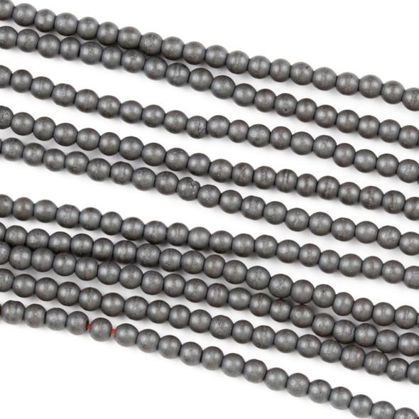 Hematite 2mm Matte Round Beads - approx. 8 inch strand
