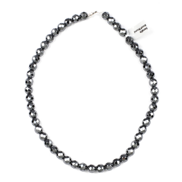 Hematite 8mm Faceted Round Beads - 15 inch strand