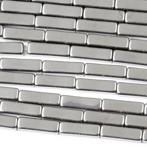 Hematite 4x13mm Square Tube Beads - 15 inch strand