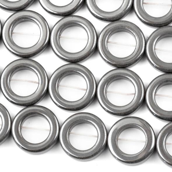 Hematite 12mm Tire Beads - 15 inch strand