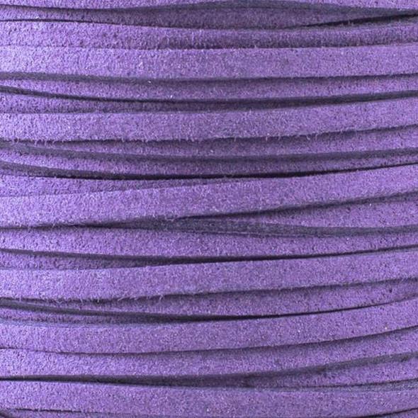 Dark Plum Purple Microsuede 1.5mm Thick, 2mm Wide Flat Cord - 3 yards
