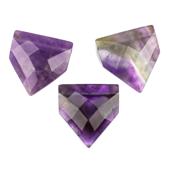 Amethyst 38x40mm Top Drilled Faceted Flag Pendant with a Flat Back - 1 per bag