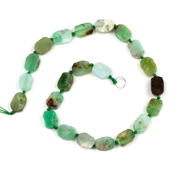 Chrysoprase 10x15mm Irregular Oval Beads - 16 inch knotted strand
