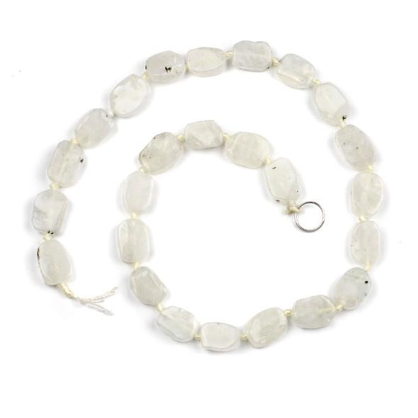 Rainbow Moonstone 10x15mm Irregular Oval Beads - 16 inch knotted strand