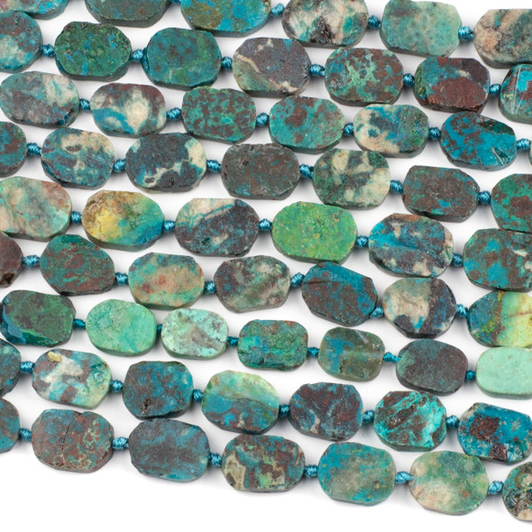 Chinese Chrysocolla 15x20mm Irregular Oval Beads - 16 inch knotted strand