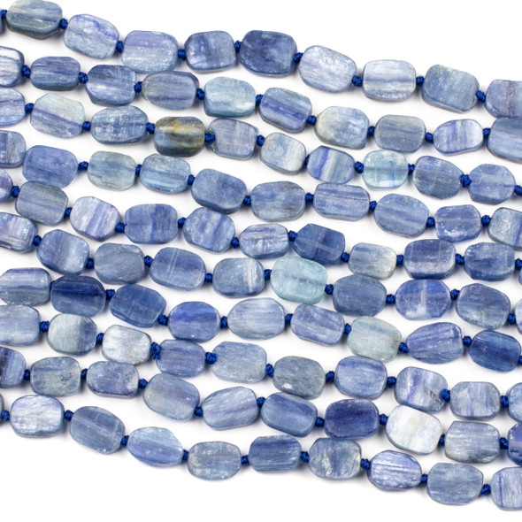 Kyanite 9x12mm Irregular Oval Beads - 16 inch knotted strand