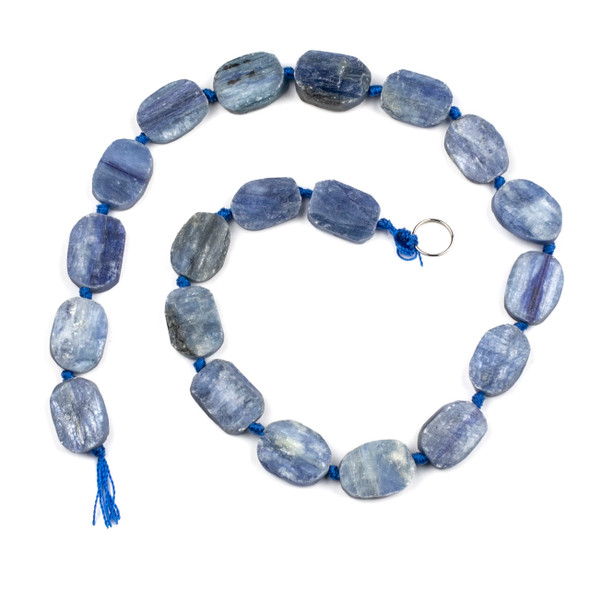 Kyanite 14x18mm Irregular Oval Beads - 16 inch knotted strand