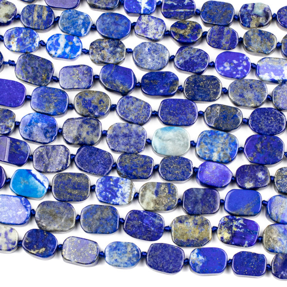 Lapis 12x17mm Irregular Oval Beads - 16 inch knotted strand