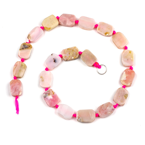 Pink Opal 12x17mm Irregular Oval Beads - 16 inch knotted strand