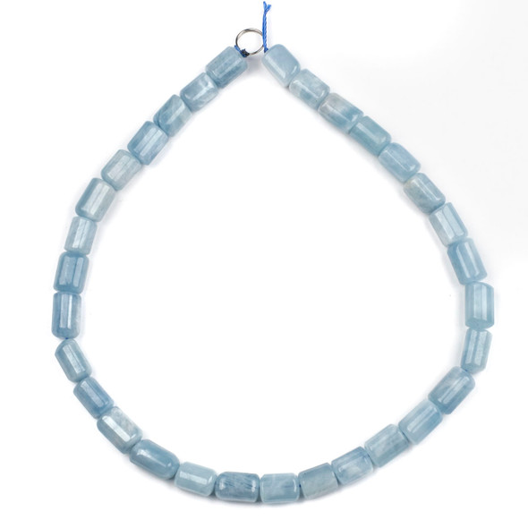 Aquamarine 10x14mm Faceted Tube Beads - 16 inch strand