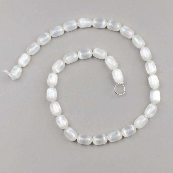 Selenite 8x12mm Tube/Drum Beads - 15 inch strand