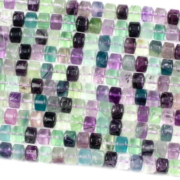 Rainbow Fluorite 8x10mm Tube Beads - 16 inch strand