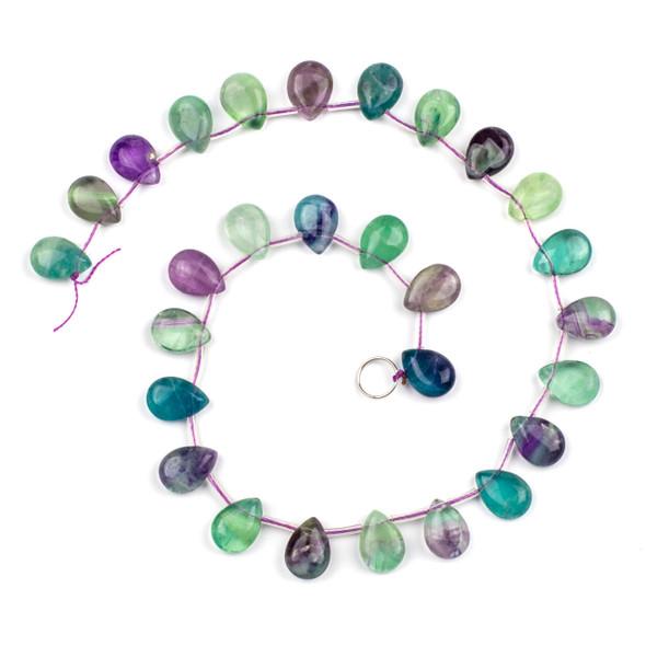 Rainbow Fluorite 10x14mm Top Drilled Teardrop Beads - 16 inch strand