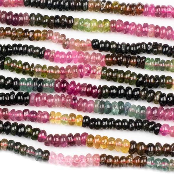 Rainbow Tourmaline 3x5mm Rondelle Beads - 16 inch strand
