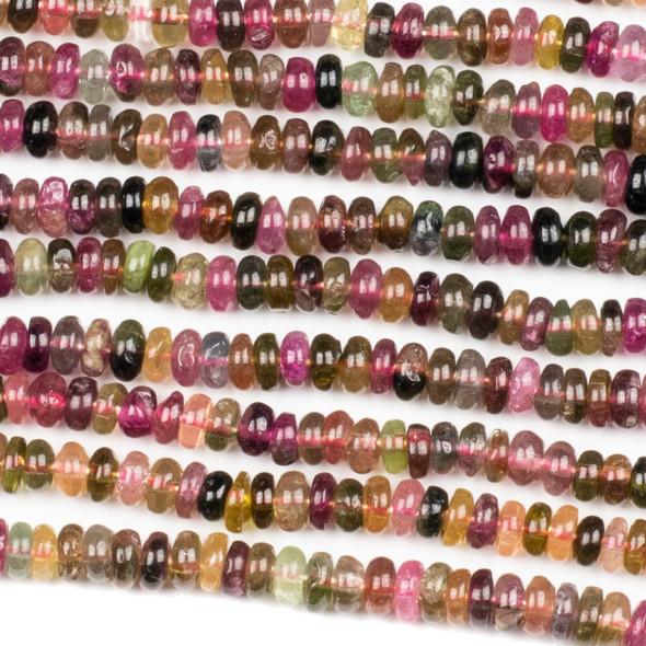Rainbow Tourmaline 3x6mm Rondelle Beads - 16 inch strand