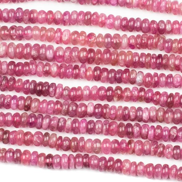 Pink Tourmaline 3x5mm Rondelle Beads - 16 inch strand