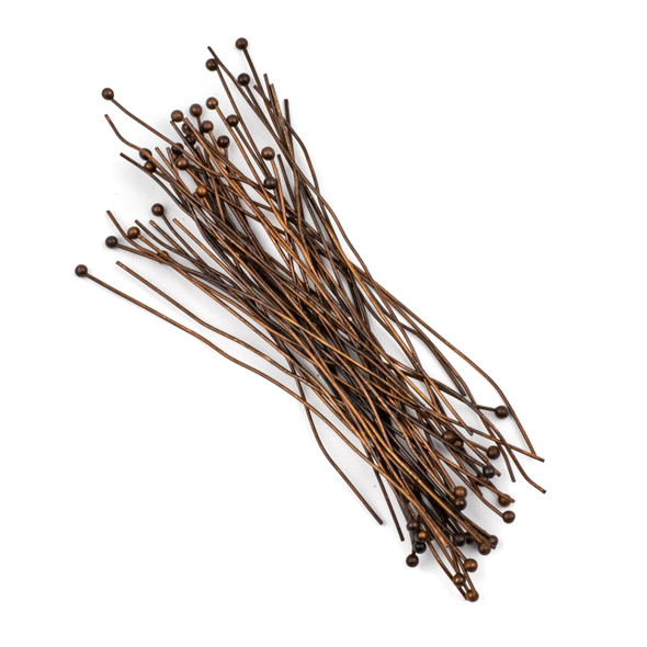 Vintage Copper Plated Brass 3 inch, 22g Headpins/Ballpins with a 2mm Ball - 50 per bag