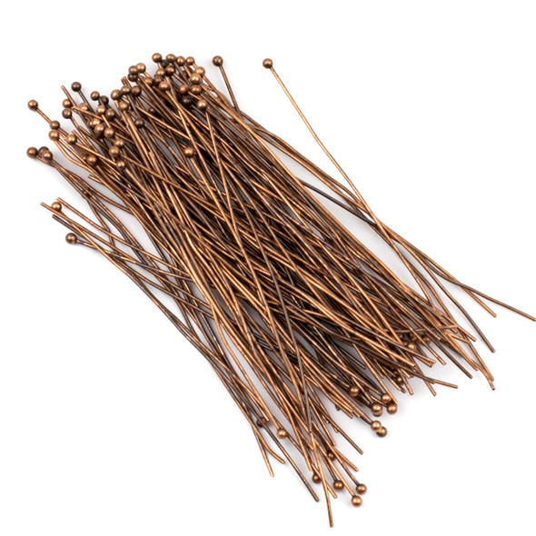 Vintage Copper Plated Brass 3 inch, 20g Headpins/Ballpins with a 2mm Ball - 100 per bag