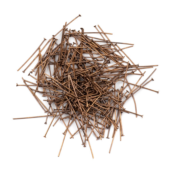 Vintage Copper Plated Brass 1 inch, 22g Headpins - 250 per bag