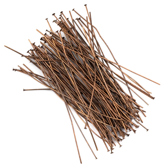 Vintage Copper Plated Brass 3 inch, 20g Headpins - 100 per bag