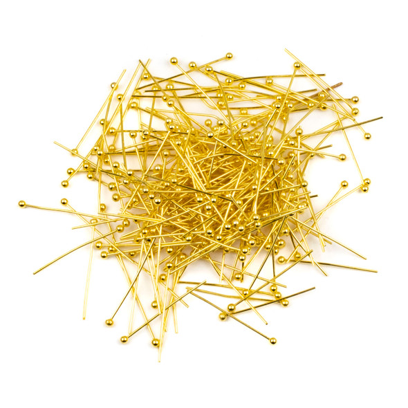 Gold Plated Brass 1 inch, 22g Headpins/Ballpins with a 2mm Ball - 250 per bag