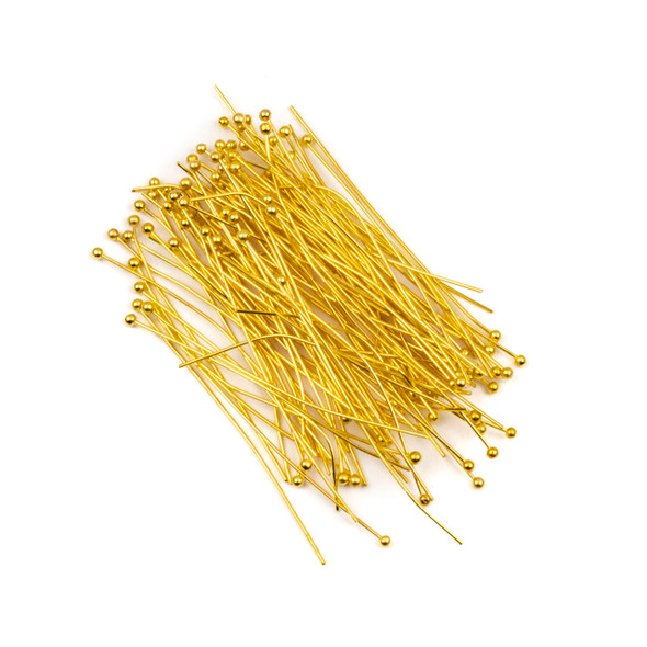Gold Plated Brass 2 inch, 22g Headpins/Ballpins with a 2mm Ball - 100 per bag