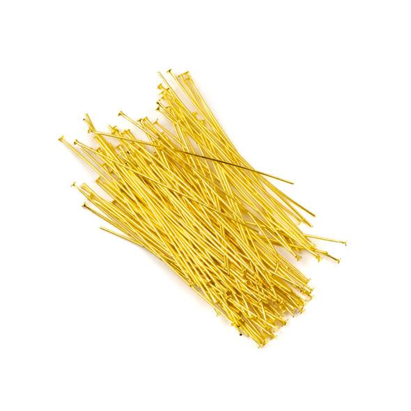Gold Plated Brass 2 inch, 22g Headpins - 100 per bag