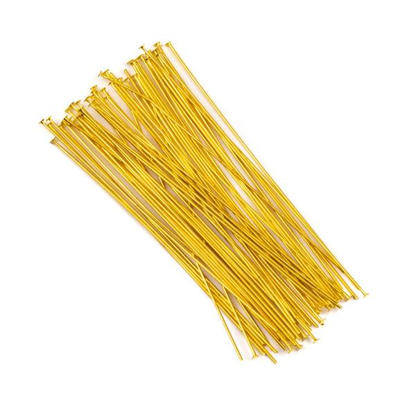 Gold Plated Brass 3 inch, 20g Headpins - 50 per bag