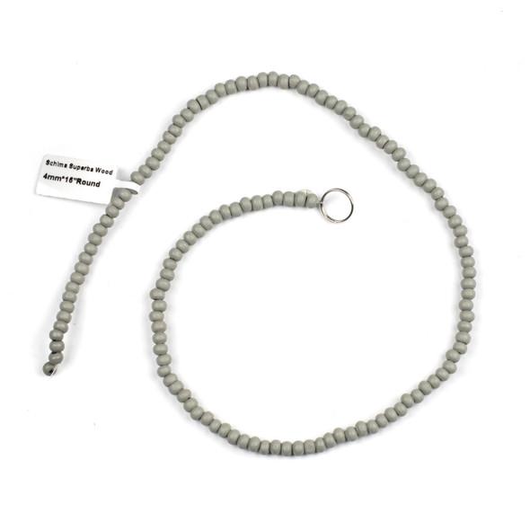 Grey Schima Superba Wood 4mm Round Beads - 15 inch strand