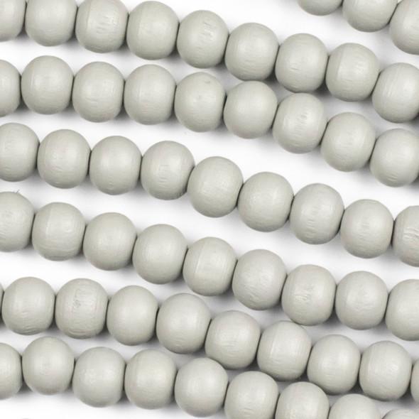 Grey Schima Superba Wood 8mm Round Beads - 15 inch strand