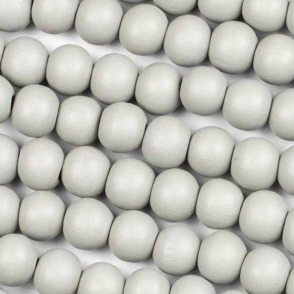 Grey Schima Superba Wood 10mm Round Beads - 15 inch strand