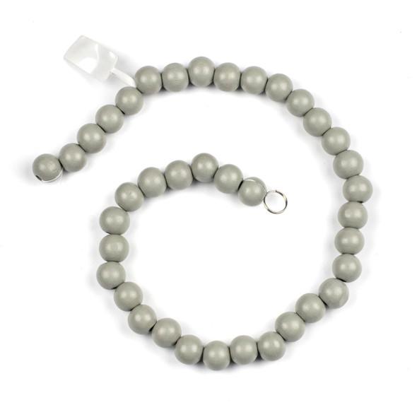 Grey Schima Superba Wood 12mm Round Beads - 16 inch strand
