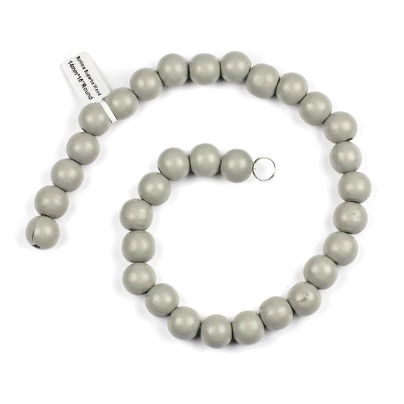 Grey Schima Superba Wood 14mm Round Beads - 16 inch strand